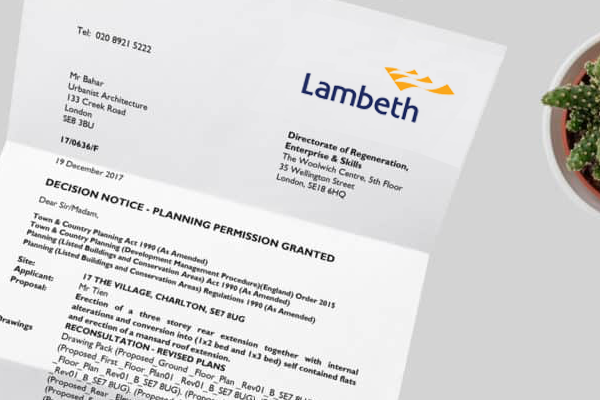 planning application for Lambeth