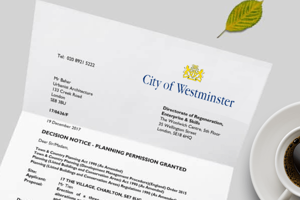 planning application for Westminster
